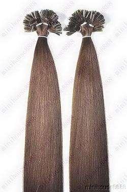 PERFEKTVLASY - KERATIN EXTENSION 100 pramenů STŘEDNĚ TMAVĚ HNĚDÁ #04,50g, 55cm, 100% lidské vlasy k prodloužení