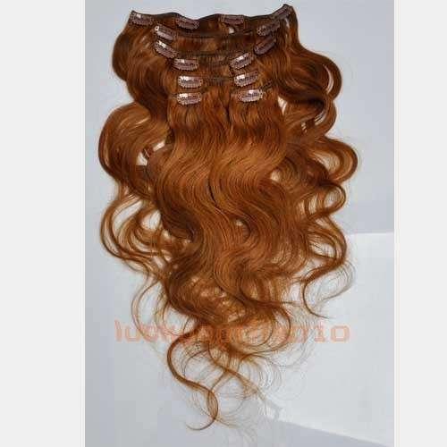 CLIP IN 7pásů SVĚTLEJŠÍ HNĚDÁ vlnité #08, 70g, 45cm, 100% lidské vlasy k prodloužení