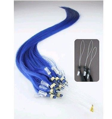PERFEKTVLASY-MICRO RING 50 pramenů MODRÁ, 40cm,100% lidské vlasy k prodloužení