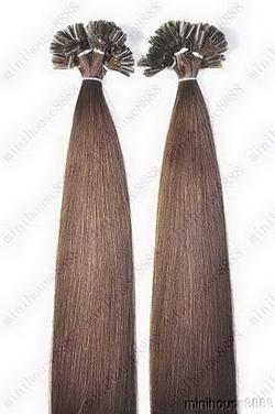 PERFEKTVLASY- KERATIN INDIAN REMY EXTENSION 100 pramenů HNĚDÁ #04,100g, 55cm, 100% lidské vlasy k prodloužení