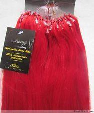 VLASY -MICRO RING 50 pramenů ČERVENÁ, 50cm,100% lidské vlasy k prodloužení