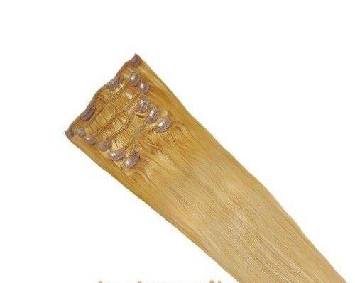 CLIP IN 7pásů odstín BLOND #18, 70g, 45cm, 100% lidské vlasy k prodloužení PERFEKTVLASY
