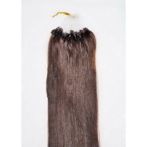 PERFEKTVLASY- MICRO RING INDIAN REMY 100 pramenů TM. HNĚDÁ #2,80g, 50cm, lidské vlasy k prodloužení