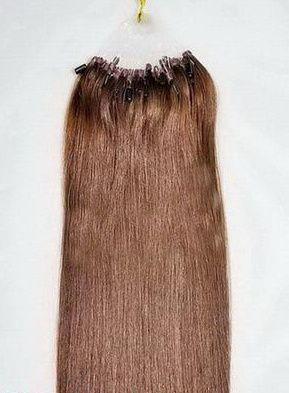 PERFEKTVLASY- MICRO RING INDIAN REMY 100 pramenů HNĚDÁ #4,80g, 50cm, lidské vlasy k prodloužení