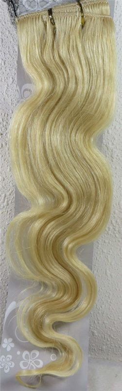 CLIP IN 7pásů BLOND vlnité #60, 75g, 50cm, 100% lidské vlasy k prodloužení