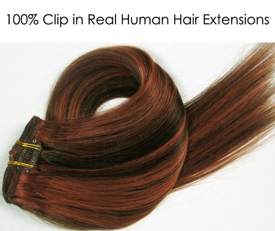 CLIP IN 7pásů HNĚDÝ MELÍR #4/30, 70g, 40cm, 100% lidské vlasy k prodloužení PERFEKTVLASY