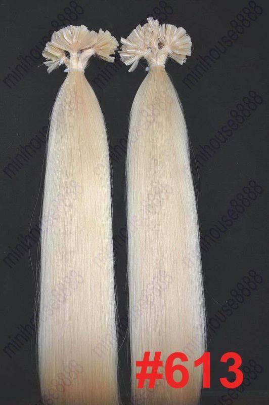 PERFEKTVLASY- KERATIN INDIAN REMY EXTENSION 100 pramenů SVĚTLÁ BLOND #613, 100g, 60cm, 100% lidské vlasy k prodloužení