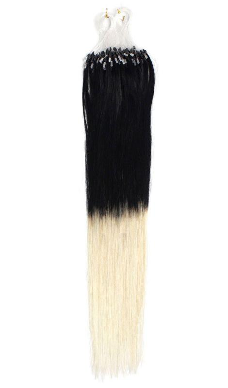 PERFEKTVLASY- OMBRE MICRO RING 100ks, ČERNÁ/BLOND #1/613, 50g, 45cm, lidské vlasy k prodloužení