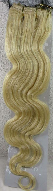 CLIP IN 7pásů BLOND vlnité #613, 75g, 55cm, 100% lidské vlasy k prodloužení