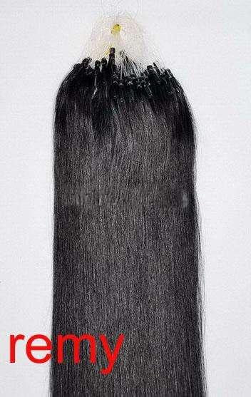 PERFEKTVLASY -MICRO RING 100 pramenů PŘÍRODNÍ ČERNÁ #1B,50g, 40cm,100% lidské vlasy k prodloužení