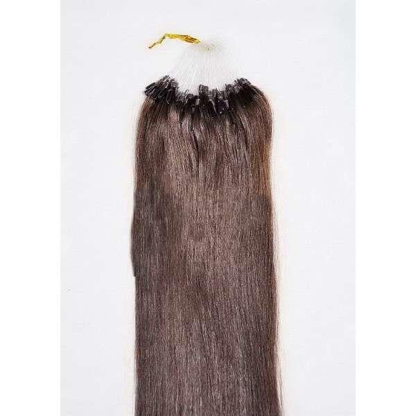 PERFEKTVLASY-MICRO RING 100 pramenů TMAVĚ HNĚDÁ #02,50g, 55cm, 100% lidské vlasy k prodloužení