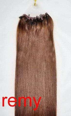 PERFEKTVLASY- MICRO RING 100 pramenů STŘEDNĚ HNĚDÁ #04,50g, 55cm,100% lidské vlasy k prodloužení