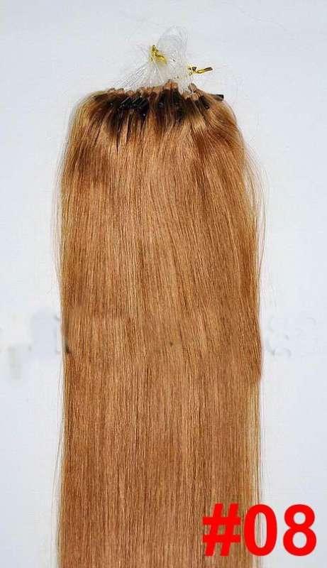 PERFEKTVLASY-MICRO RING 100 pramenů SVĚTLE HNĚDÁ #08,50g, 55cm,100% lidské vlasy k prodloužení