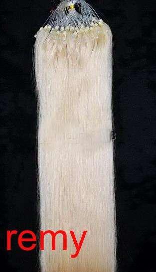 PERFEKTVLASY-MICRO RING 100 pramenů SVĚTLÁ BLOND #60, 50g, 55cm,100% lidské vlasy k prodloužení