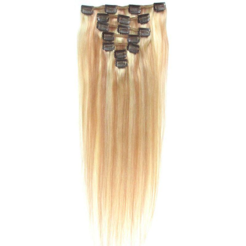 CLIP IN 7pásů BLOND MELÍR #27/613, 70g, 50cm, 100% lidské vlasy k prodloužení