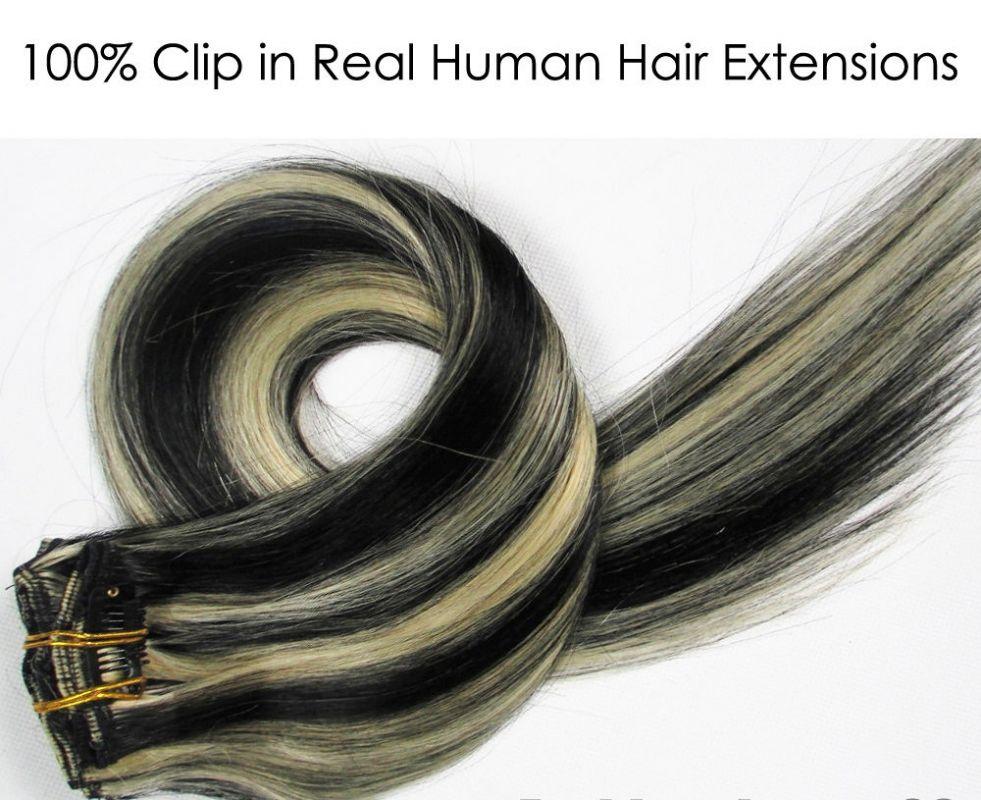 CLIP IN 7pásů BLOND MELÍR #1/613, 70g, 40cm, 100% lidské vlasy k prodloužení PERFEKTVLASY