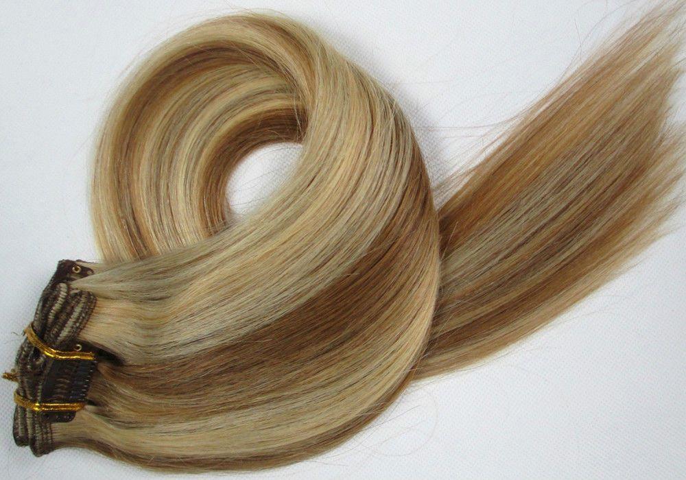 CLIP IN 7pásů BLOND MELÍR #12/613, 75g, 50cm, 100% lidské vlasy k prodloužení