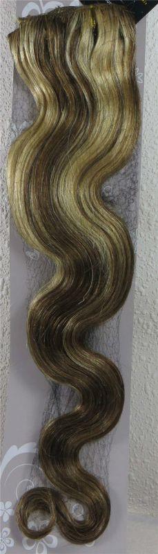 CLIP IN 7pásů BLOND MELÍR vlnité #8/613, 75g, 50cm, 100% lidské vlasy k prodloužení