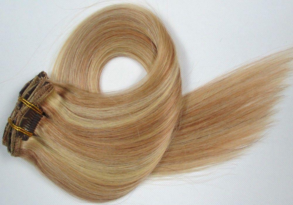 CLIP IN 7pásů BLOND MELÍR #27/613, 70g, 45cm, 100% lidské vlasy k prodloužení PERFEKTVLASY
