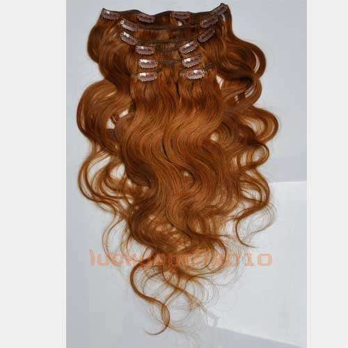 CLIP IN 7pásů SVĚTLEJŠÍ HNĚDÁ vlnité #08, 70g, 50cm, 100% lidské vlasy k prodloužení