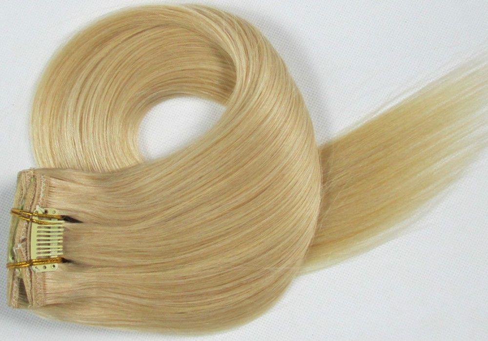 CLIP IN 7pásů SVĚTLÁ BLOND #60, 70g, 40cm, 100% lidské vlasy k prodloužení