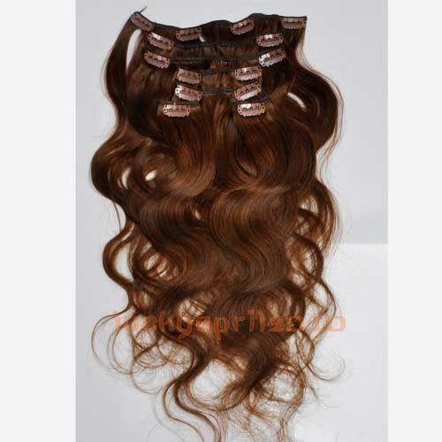 CLIP IN 7pásů TMAVĚ HNĚDÁ vlnité #4, 70g, 50cm, 100% lidské vlasy k prodloužení