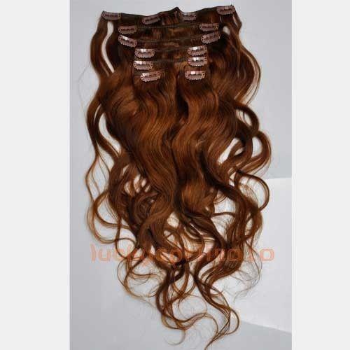 CLIP IN 7pásů SVĚTLEJŠÍ HNĚDÁ vlnité #6, 70g, 50cm, 100% lidské vlasy k prodloužení