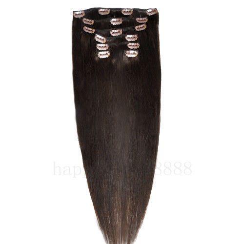 CLIP IN 7pásů TMAVĚ HNĚDÁ #02, 70g, 40cm, 100% lidské vlasy k prodloužení