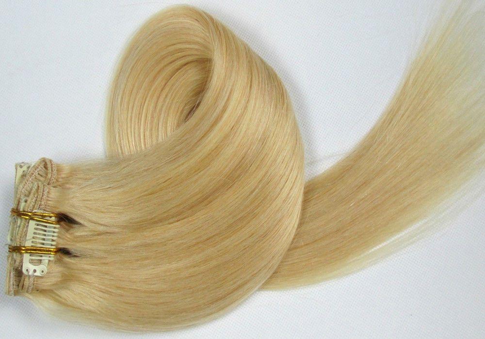 CLIP IN 7pásů SVĚTLÁ BLOND #60, 75g, 55cm, 100% lidské vlasy k prodloužení