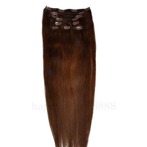CLIP IN 7pásů STŘEDNĚ HNĚDÁ #04, 70g, 45cm, 100% lidské vlasy k prodloužení PERFEKTVLASY