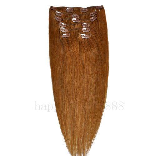 CLIP IN 7pásů SVĚTLE HNĚDÁ #12, 75g, 50cm, 100% lidské vlasy k prodloužení