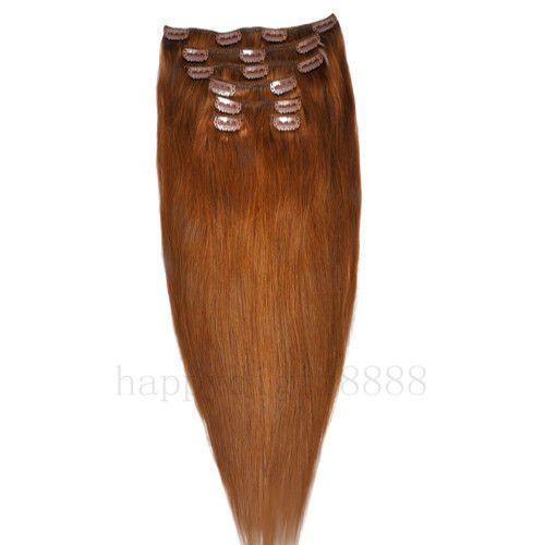CLIP IN 7pásů SVĚTLEJŠÍ HNĚDÁ #08, 75g, 50cm, 100% lidské vlasy k prodloužení