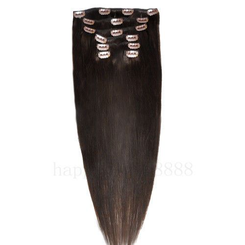 CLIP IN 7pásů TMAVĚ HNĚDÁ #02, 70g, 45cm, 100% lidské vlasy k prodloužení PERFEKTVLASY
