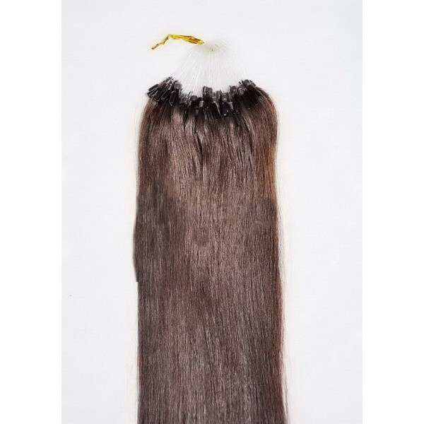 PERFEKTVLASY-MICRO RING 100 pramenů TMAVĚ HNĚDÁ #02,50g, 50cm, 100% lidské vlasy k prodloužení