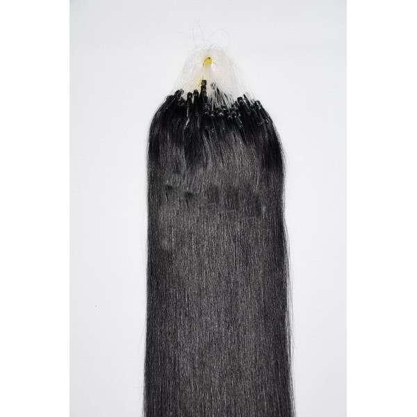 PERFEKTVLASY - MICRO RING REMY 100 pramenů ČERNÁ #1,50g, 40cm, 100% lidské vlasy k prodloužení