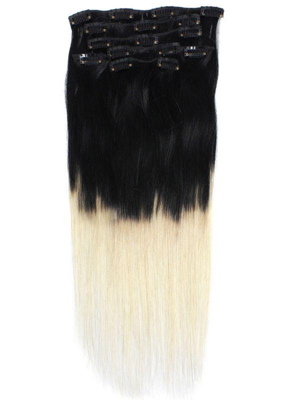 OMBRE CLIP IN 7pásů ČERNÁ/blond #01/613, 70g, 40cm,100% lidské vlasy k prodloužení