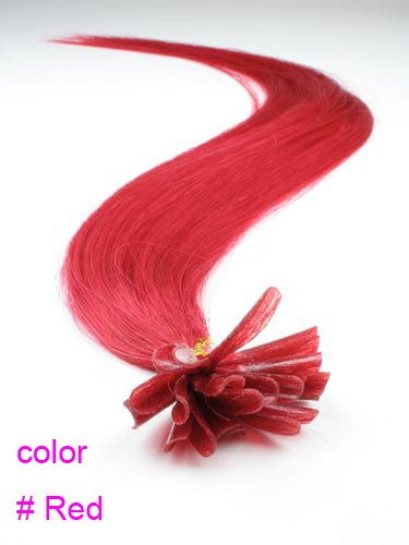 PERFEKTVLASY - KERATIN 50 pramenů červená , 45cm, 100% lidské vlasy k prodloužení