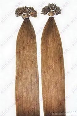 PERFEKTVLASY - KERATIN EXTENSION 100 pramenů HNĚDÁ #08,50g, 55cm, 100% lidské vlasy k prodloužení