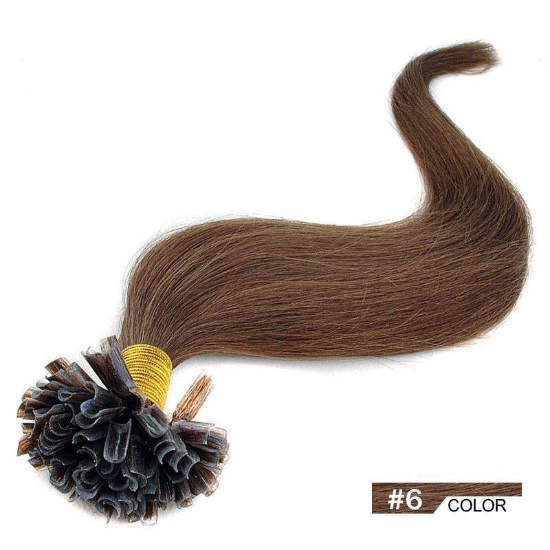 PERFEKTVLASY - KERATIN EXTENSION 100 pramenů SVĚTLE HNĚDÁ vlasy #06, 50g, 45cm,100% lidské k prodloužení