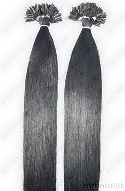 PERFEKTVLASY - KERATIN INDIAN REMY EXTENSION 100 pramenů ČERNÁ #01,80g, 45cm, 100% lidské vlasy k prodloužení