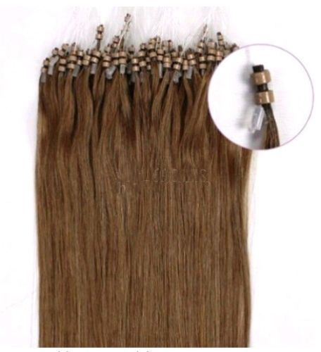 PERFEKTVLASY-MICRO RING 100 pramenů STŘEDNĚ HNĚDÁ #06,50g,40cm,100% lidské vlasy k prodloužení