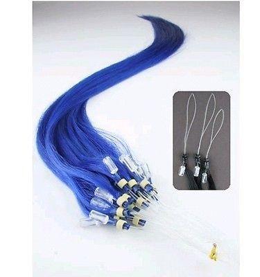 PERFEKTVLASY-MICRO RING 50 pramenů MODRÁ, 50cm,100% lidské vlasy k prodloužení