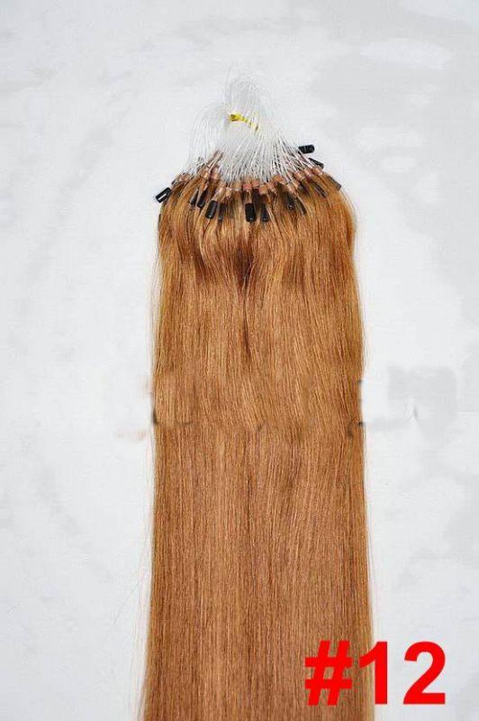 PERFEKTVLASY- MICRO RING INDIAN REMY 100 pramenů SV. HNĚDÁ #12, 80g, 40cm, lidské vlasy k prodloužení