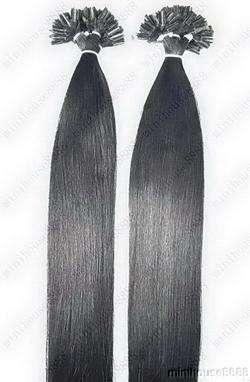 VLASY - KERATIN EXTENSION 100 pramenů ČERNÁ #01,50g,55cm, 100% lidské vlasy k prodloužení